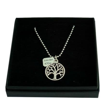 Tree of Life Necklace with Engraved Tag