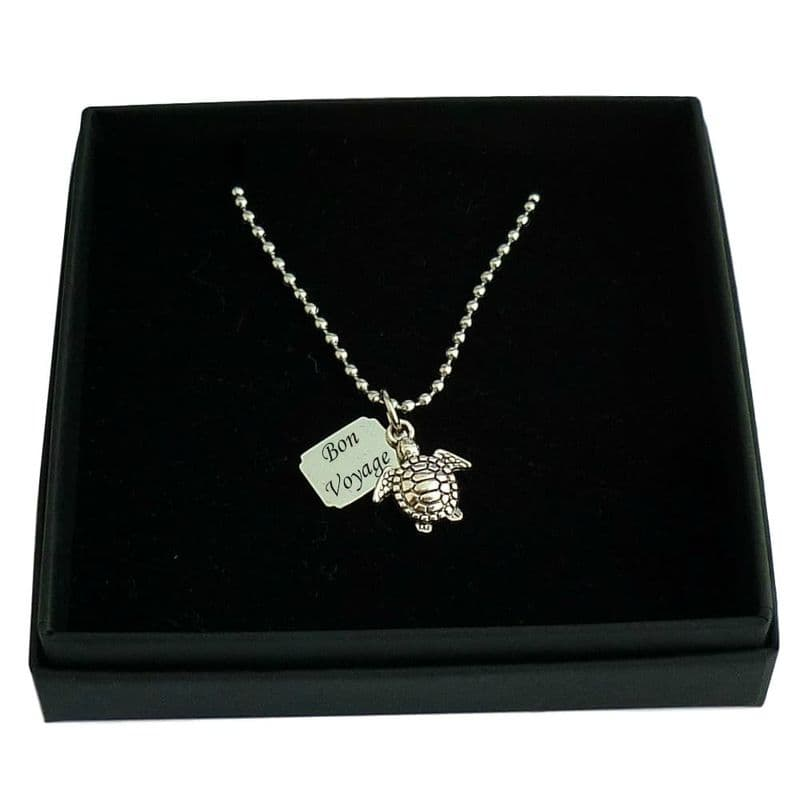 Turtle Necklace with Personalised Tag   Charming Engraving