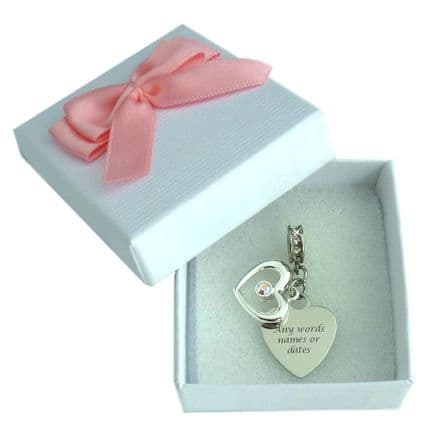 Two Hearts Charm, fits Pandora, Any Engraving