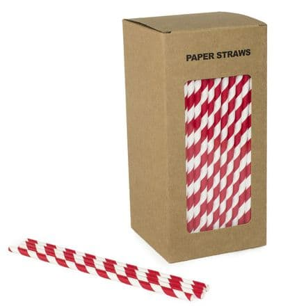 6 mm Red and White Paper straw