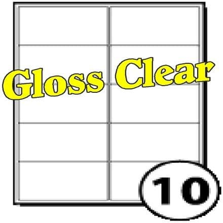 99 x 57mm Gloss Clear Polyester Labels (10 per sheet). Pack of 100