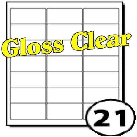 Gloss Clear Polyester Labels (21 per A4 sheet)