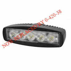 5 x 3W LED Work Lamp with 350mm Flying Lead - Black, 12/24V, Ip67-0-420-63