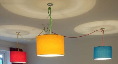 3 way White Ceiling Fitting Multi-Coloured Cable and Hooks