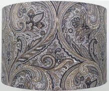 Paisley Silver / Grey Linen Style Cylinder / Drum Lampshade