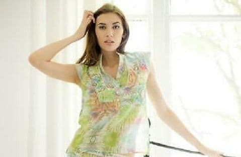 Cotton Real Cap Sleeve 100%Cotton Pyjama Top In Spring Ferns (CRE16/170)