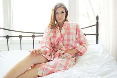 Cotton Real Ladies Kimono Wrap In Coral Lemon Check (CRE16-105)