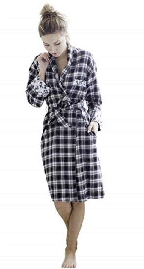 Cottonreal Check Noir Cotton Dressing Gown (1520)