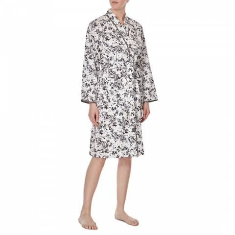 Cottonreal  Deco Floral White and Black  Dressing Gown (1524)