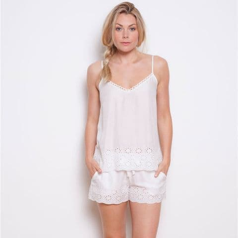 Cyberjammies Embroidered Woven White Model Short (3333)