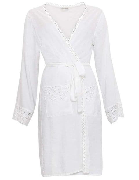 Cyberjammies  White Embroidered Woven Wrap (3334)