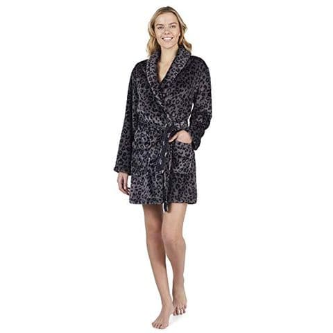 DKNY Ladies Grey Animal Print Dressing Gown (Y12219351)