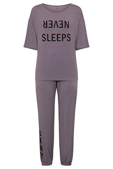 DKNY Never Sleeps 3/4 Sleeve Top Pyjama Set in  Grey (YI2919302)