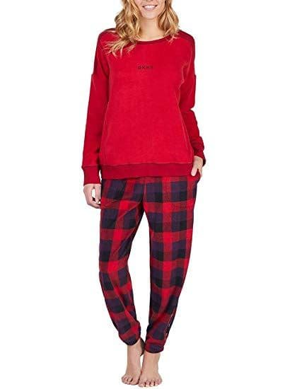 DKNY Red  Fleece Long Pyjama Set (YI2819328F)