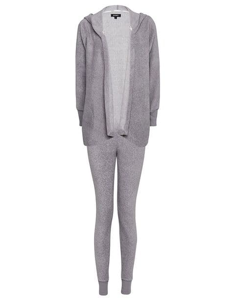 DKNY To Good To Give Fleece Hooded Light Grey Pyjama set (2219328)