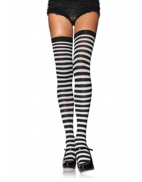 Leg Avenue Opaque Black and White Striped Thigh Highs (6005)
