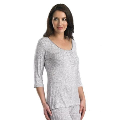 Slenderella 3/4 Sleeve Top In Ivory and Grey (GL08713)