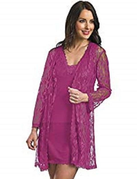Slenderella Gaspe Lace Wrapover Robe with Tie Belt In Raspberry (GL02707)