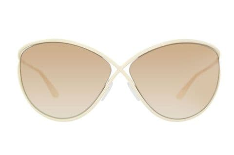 Tom Ford Ladies Narcissa Sunglasses Off White Gradient Light Brown (FT129 25G)
