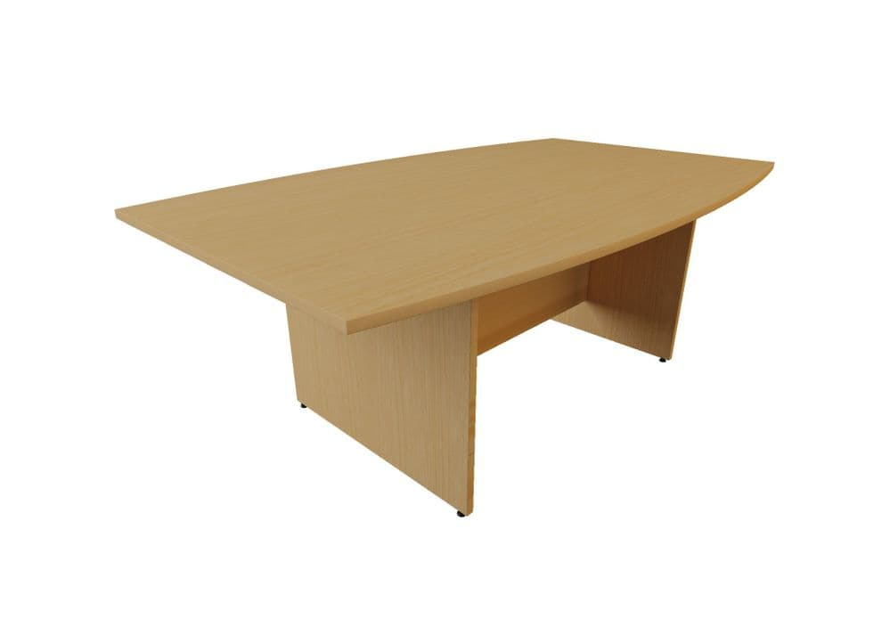Boat Shaped Meeting/Boardroom Table, Roma Panel End. Choice of Wood Finish and and Width