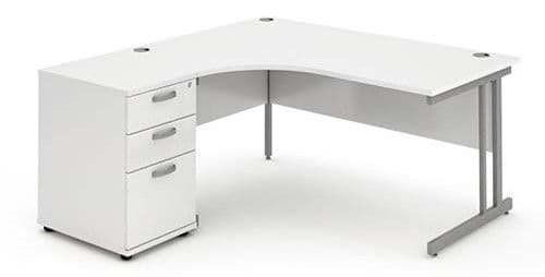 Cantilever Leg, Radial/Crescent Desk, 1600mm,  Maple, Oak, Light Walnut, White & Beech Tops