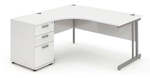 Cantilever Leg, Radial/Crescent Desk, 1800mm, 600mm Pedestal. Available in Various Top Colours
