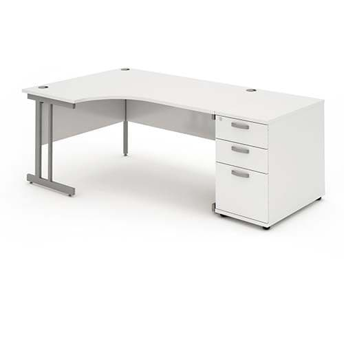 Cantilever Leg, Radial/Crescent Desk, 1800mm, 800mm Pedestal. Available in Various Top Colours