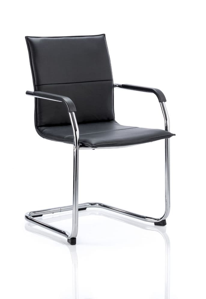 Echo Streamline Cantilever Visitor Chair Chrome Frame Padded Arms Black Bonded Leather