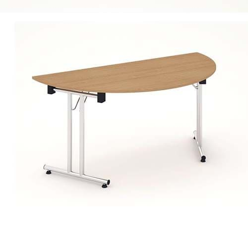 Fold Flat Semicircle Table 1600mm. Available in Beech, Maple, Grey Oak, Light Walnut & White Finish