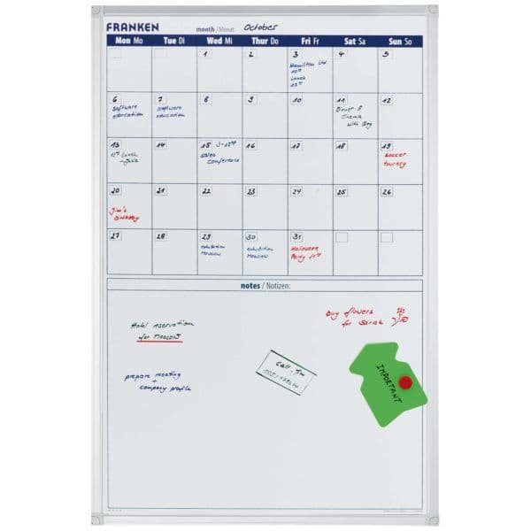 Franked Monthly planner. 90 x 60 cm (W x H). Magnetic Whiteboard