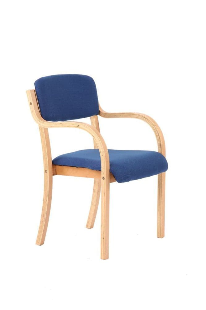 Madrid Wooden Frame Visitor Chair Beech Frame With Arms Various Fabric Colours Available