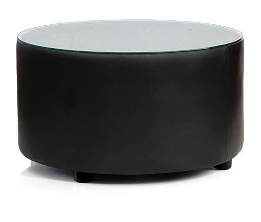 Round Upholstered Coffee Table  Glass Top On Glides Black Leather