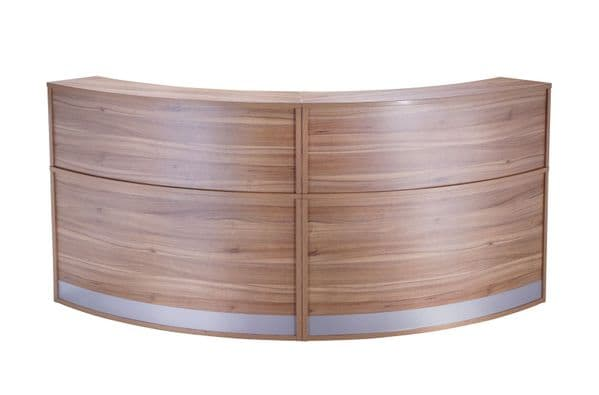 Two Section Curved Reception Counter, Full Height, Two Sections, 872mm Deep, Choice of Finish
