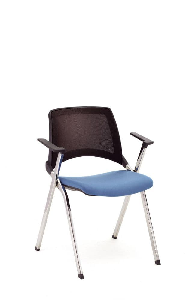 Pledge La Kendo Meeting Chair With Four Leg Base & Upholstered Seat With Mesh Back and Fixed Arms