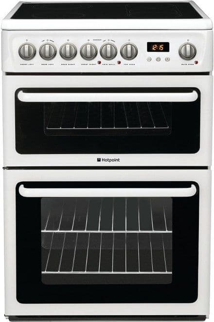 Hotpoint HAE60PS 60cm Wide Ceramic Double Oven Electric Cooker - White