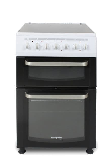 Montpellier Eco TCC60W 60cm Wide Twin Cavity Ceramic Electric Cooker - White