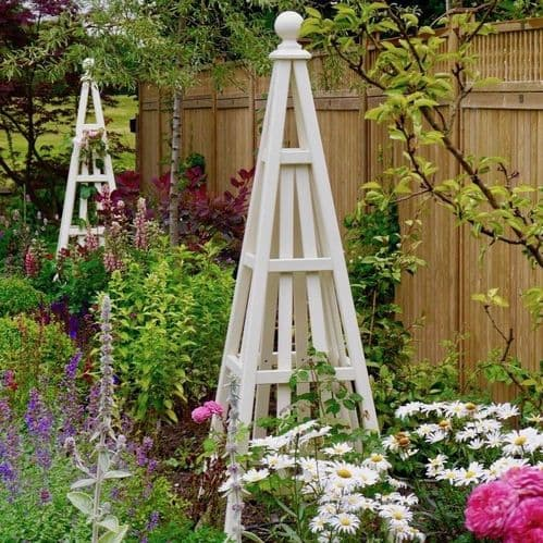 Accoya Wooden Garden Obelisk Sweet Pea Design, Painted Any Colour