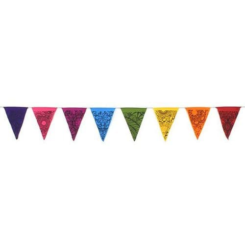 Bunting~ Hippy Bohemian Triangle Rainbow Tattoo Design Flag Bunting~ By Folio Gothic Hippy BA506