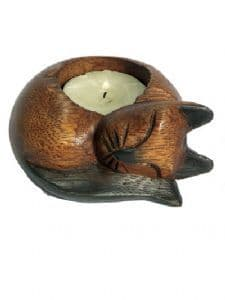 Cat Candle Holder~Ethnic Wooden Sleeping Cat Tea Light Holder~Fair Trade