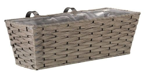 Bari Faux Rattan Planter- Soft Grey