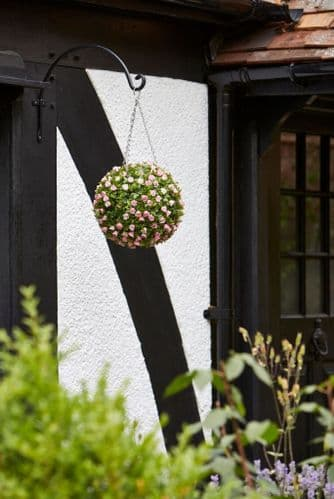 Faux Pink Rose Hanging Topiary Ball