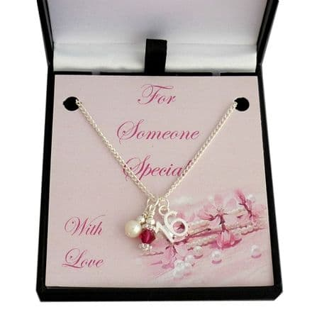 16th Birthday Necklace with Birthstone and Pearl
