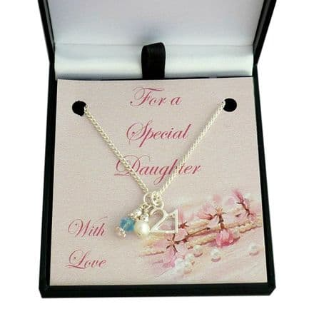 21st Birthday Necklace with Birthstone and Pearl