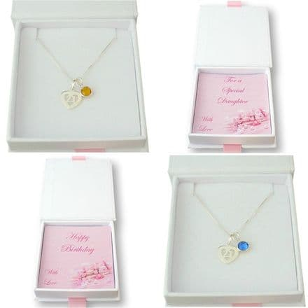 21st Birthday Necklace with Birthstone, Sterling Silver