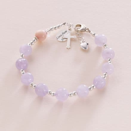 Amethyst & Pearl Rosary Bracelet With Engraving