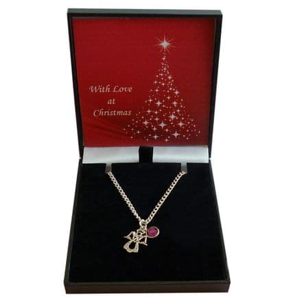 Angel and Birthstone Necklace, Christmas Gift for Girls & Women