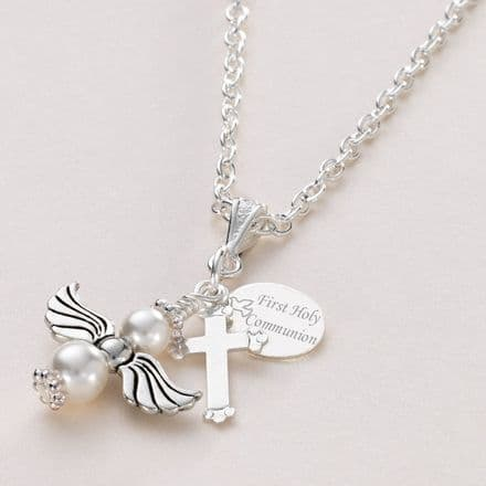 Angel First Holy Communion Necklace with Engraving