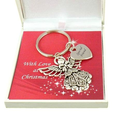 Angel Keyring with Any Engraving in a Christmas Gift Box