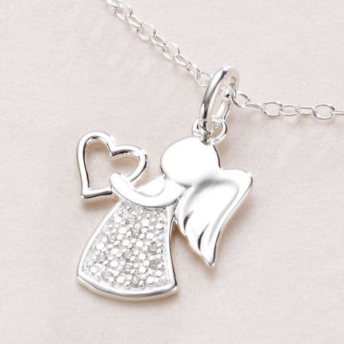 Angel Necklace, Sterling Silver, Optional Engraving | Jewels 4 Girls