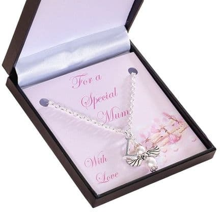 Angel Necklace with Letter Charm & Card Mount